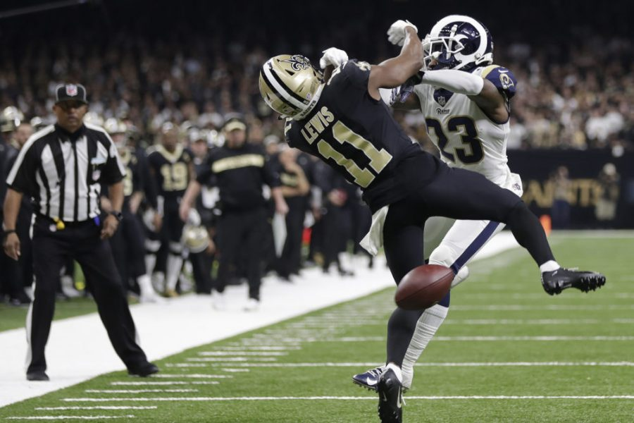 New+Orleans+Saints+wide+receiver+Tommylee+Lewis+%2811%29+works+for+a+coach+against+Los+Angeles+Rams+defensive+back+Nickell+Robey-Coleman+%2823%29+during+the+second+half+the+NFL+football+NFC+championship+game+Sunday%2C+Jan.+20%2C+2019%2C+in+New+Orleans.+The+Rams+won+26-23.+%28AP+Photo%2FGerald+Herbert%29