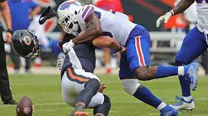 Justin Fields hit hard in preseason game versus Bills.